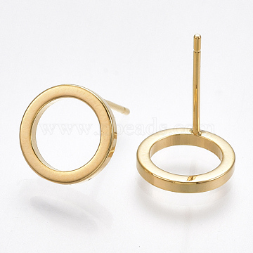 Brass Stud Earrings, with 925 Sterling Silver Pins, Ring, Nickel Free, Real 18K Gold Plated, 10mm, Pin: 0.8mm(X-KK-T038-284G)