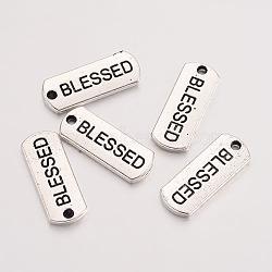 Tibétain rectangle en alliage de style avec Word pendentifs bienheureux, sans cadmium et sans plomb, argent antique, 8x21x2mm, Trou: 2mm(X-TIBEP-Q043-060-RS)