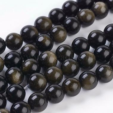 10mm Round Golden Sheen Obsidian Beads