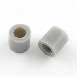 Recharges de perles à repasser en PE, Tube, argenterie, 3~3.3x2.5~2.6mm(X-DIY-R013-2.5mm-A36)