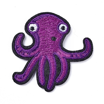 Computerized Embroidery Cloth Iron On/Sew On Patches, Costume Accessories, Appliques, Octopus, Purple, 50x50x2mm(X-DIY-D031-N01)