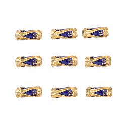 Perles en émail d'alliage de style chinois, Tube, or, darkblue, 13.5x5mm, Trou: 1.6mm(X-ENAM-L015-08A-G)