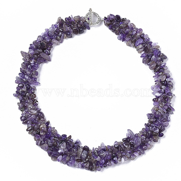 3-Layered Natural Amethyst Chip Beaded Necklaces, with Tibetan Style Alloy Toggle Clasps, 17.5~18.7 inches(445~475mm)(NJEW-S419-01B)