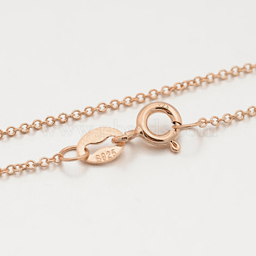Sterling Silver Rolo Chain Necklaces, with Spring Ring Clasps, Thin Chain, Rose Gold, 16 inches, 1mm(X-STER-M086-21A)
