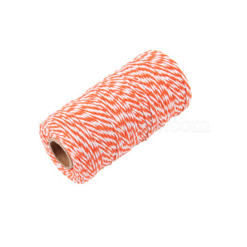 Two Tone Striped Cotton String Threads, Decorative String Threads, for DIY Crafts, Gift Wrapping and Jewelry Making, Orange, 1.5mm, about 109.36 yards(100m)/roll(OCOR-WH0032-35E)