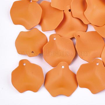Spray Painted Iron Pendants, Petal, DarkOrange, 26.5x25x7mm, Hole: 1mm(X-IFIN-S704-09B)
