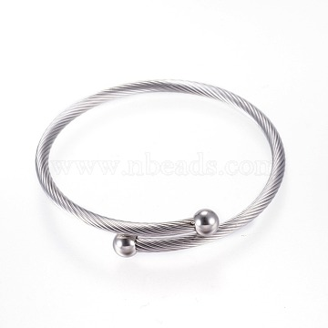 304 Stainless Steel Bangles, Torque Bangles, Stainless Steel Color, 50mm(2 inches)(X-BJEW-D431-01)