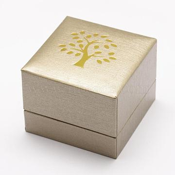 Plastic and Cardboard Ring Boxes, Printed Tree of Life, Rectangle, BurlyWood, 59x59x47mm(OBOX-L002-04)