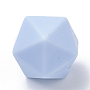 Light Steel Blue Polygon Silicone Beads(SIL-T048-17mm-57)