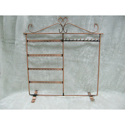 Iron Pedestal Display Stand, Jewelry Display Rack, Red Copper, about 32cm wide, 33cm high(X-PCT066-01)