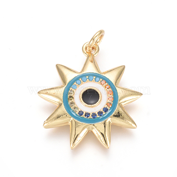 Golden Plated Brass Micro Pave Cubic Zirconia Pendants, with Enamel and Jump Rings, Sun with Evil Eye, Colorful, 21.5x19.5x3.5mm, Hole: 3.5mm(ZIRC-L085-32A-G)