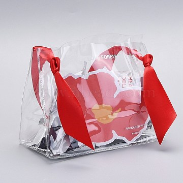 PVC Plastic Bags, with Silk Handle, for Gift Bag Party Favors, Red, 19x13.5cm, 10 sets/bag(ABAG-I004-A04)