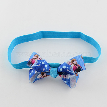 Girls' Kawaii Hair Accessories Bowknot Elastic Headbands, with Printed Grosgrain Ribbon, Royal Blue, 110mm(OHAR-R221-04)