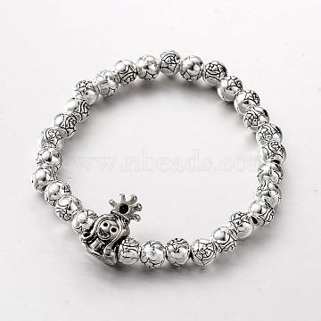 Queen Tibetan Style Alloy Beaded Stretch Bracelets, Antique Silver, 52mm(BJEW-E419-06AS)