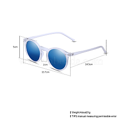 Trendy Sunglasses, Plastic Frames and Resin Lenses, Deep Sky Blue, 13.7x5cm(SG-BB22101-2)