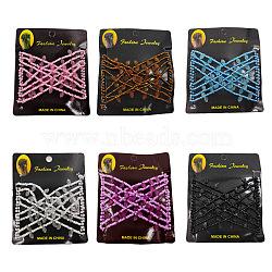 Fabricant de pain de cheveux en acier, peigne double élastique, avec verre acrylique et perles, couleur mixte, 75x85mm(OHAR-S197-025)