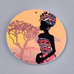 Gros pendentifs en bois imprimés, teint, plat rond à tête humaine, colorées, 60x2.5mm, Trou: 1.5mm(X-WOOD-S048-01)