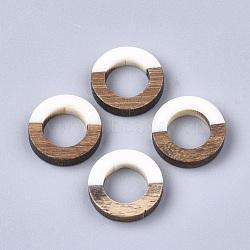 Anneaux de liaison en résine et bois, anneau, blanc crème, 18x4mm(X-RESI-S358-21G)