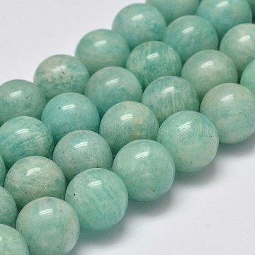 Grade AB Natural Amazonite Round Bead Strands, 7mm, Hole: 1mm; about 53pcs/strand, 15.5inches(G-M296-06-7mm)