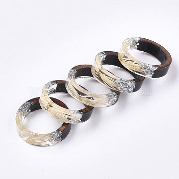 Epoxy Resin & Ebony Wood  Rings, with Dried Grass, Silver Foil, Beige, 19mm(RJEW-S043-01D-05)