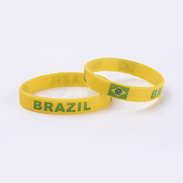 Silicone Bracelets Wristband Souvenir, with Flag Pattern, Gold, 2-3/8inches(61mm); 12mm(BJEW-TA0002-04I)