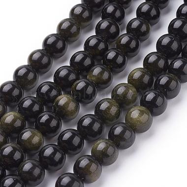 8mm Round Golden Sheen Obsidian Beads