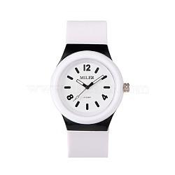 Montres-bracelet à quartz en silicone en acier inoxydable pour enfants de haute qualité 304, blanc, 230x25 mm; tête de montre: 48x43x13 mm(WACH-N016-02)