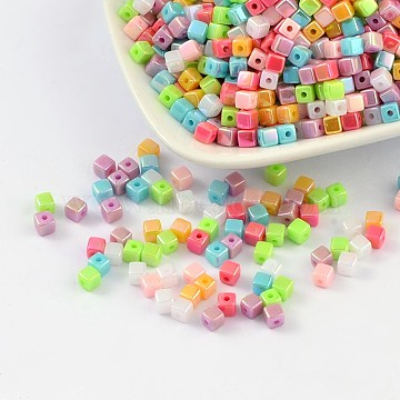Acrylic Beads, AB color, Cube, Mixed Color, 4x4mm, Hole: 1mm(X-PL337AB)