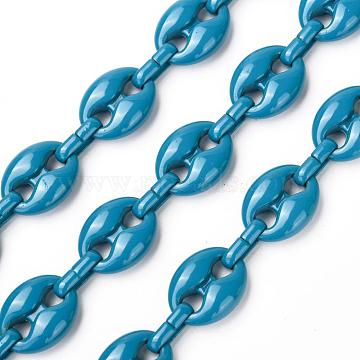 Alloy Coffee Bean Chains, with Iron Oval Link, Unwelded, Spray Paint, Cadmium Free & Lead Free, with Spool, Dark Cyan, Coffee Bean: 13.5x10.5x4.5mm, Link: 9x4x2mm(LCHA-H004-10A-05)