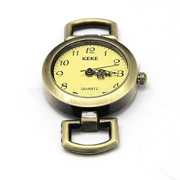 Alloy Watch Face Watch Head Watch Components, Flat Round, Antique Bronze, 49x26.5x9mm(X-WACH-F001-04AB)