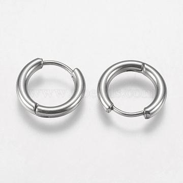 304 Stainless Steel Huggie Hoop Earrings Findings, Stainless Steel Color, 10 Gauge, 14x15x2.5mm; Pin: 0.9mm(X-STAS-F149-33P-C)
