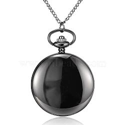 Flat Round Alloy Quartz Pocket Watches, with Iron Chains and Lobster Claw Claspss, Gunmetal, 31.4inches; Watch Head: 64x47x15mm; Watch Face: 37mm(WACH-N039-04B-A)