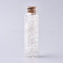 bouteille en verre qui souhaitent, pour la décoration de pendentif, avec des perles de cristal de quartz à l'intérieur et un bouchon en liège, 22x71 mm(DJEW-L013-A03)