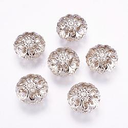 Séparateurs perles, fer, couleur platine, 23 mm de diamètre, épaisseur de 12.5mm, Trou: 2mm(X-E060Y)