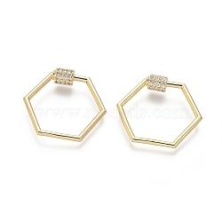 laiton micro pavé zircone cubique vis verrouillage mousqueton porte-clés, charm mousqueton, pour la fabrication de colliers, hexagone, or, 24x28x2 mm(ZIRC-I031-16G)