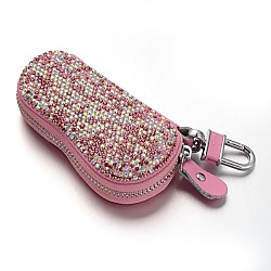 Блестящий прямоугольник ПУ кожаные чехлы ключ, горный хрусталь и нержавеющей стали застежками, фламинго, 150x65x28 мм(AJEW-M016-02)
