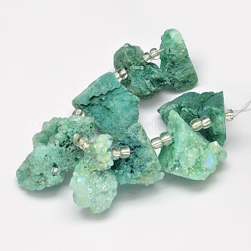 Dyed Nuggets Natural Electroplated Quartz Crystal Beads Strands, AB Color, Sea Green, 15~20x20~25mm, Hole: 1mm; about 7~8pcs/strand, 5 inches(G-A142-08B)