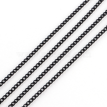 Electrophoresis Unwelded Iron Curb Chains, Black, 3.7x2.8x0.8mm, about 32.8 Feet(10m)/roll(X-CH-R067-05)