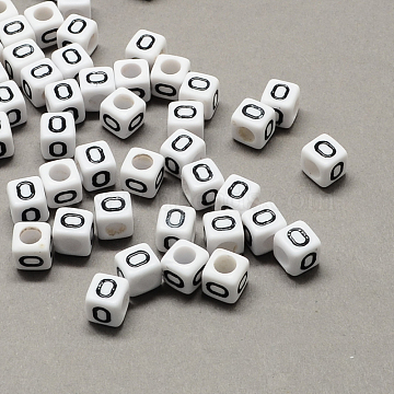 Large Hole Acrylic Letter European Beads, White & Black, Cube with Letter.O, 10x10x10mm, Hole: 4mm(X-SACR-Q103-10mm-01O)