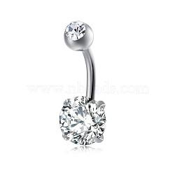 Bijoux piercing, anneau de nombril de zircon cubique en laiton environnemental, anneaux de ventre, avec les accessoires en acier inoxydable, plat rond, platine, clair, 21x8 mm; broches: 1.5 mm(AJEW-EE0006-24B)