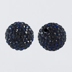 Perles de boule pavé disco , Perles de strass en argile polymère, rond, montana, 10mm, Trou: 1.5mm(X-RB-A130-10mm-7)