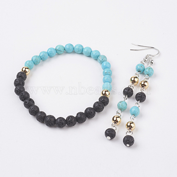 Natural Lava Rock & Synthetic Turquoise Jewelry Sets, Bracelets & Earrings, with Brass Findings, 2-1/4 inches(56mm); 86mm; Pin: 0.7mm(SJEW-JS00953-01)