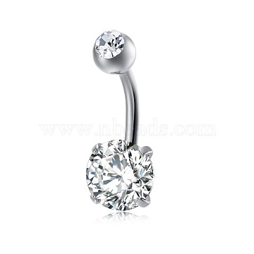 Piercing Jewelry, Brass Cubic Zirconia Navel Ring, Belly Rings, with Stainless Steel Findings, Lead Free & Cadmium Free, Flat Round, Platinum, Clear, 21x8mm; Pin: 1.5mm(AJEW-EE0006-24B)