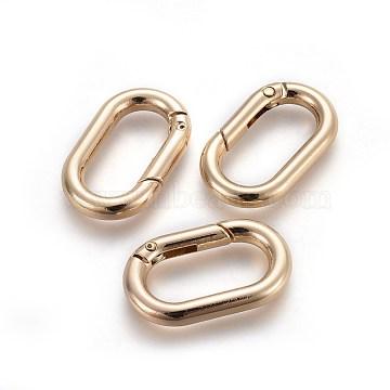 Zinc Alloy Key Clasps, Spring Gate Rings, Oval Rings, Light Gold, 34.5x21x5mm, Inner Diameter: 21x11.5mm(X-PALLOY-WH0056-02LG)