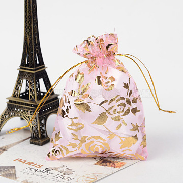 Rose Printed Organza Bags, Gift Bags, Rectangle, Pearl Pink, 12x10cm(X-OP-R021-10x12-01)