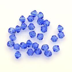 perles de cristal autrichien, 5301 4 mm, Toupie, saphir, taille: environ 4 mm de long, 4 mm de large, trou: 1 mm(X-5301-4mm206)
