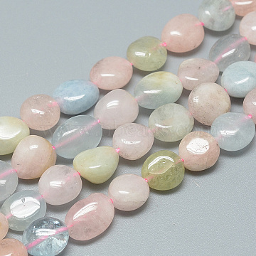 Natural Morganite Beads Strands, Nuggets, 8~12x8~10x3~9mm, Hole: 1mm; about 42pcs/strand, 16.3 inches(X-G-S264-03)