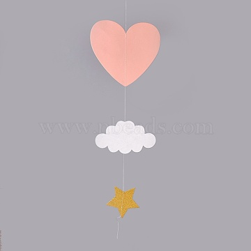 Kindergarten Window Hanging 3D Paper Heart Cloud Ornaments, for Wedding Baby Shower Birthday Party Decorations, Pink, 47.5x7.8~18cm(HJEW-WH0002-02)