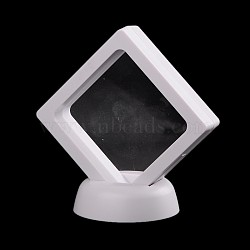 Plastic Frame Stands, with Transparent Membrane, 3D Floating Frame Display Holder, Coin Display Box, Rhombus, White, 9x9x5.5cm(ODIS-N010-02B)