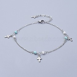 304 bracelets de cheville en acier inoxydable, avec perles de turquoise synthétiques et perle de verre, traverser, couleur inox, 9-5 / 8 (24.5 cm)(AJEW-AN00265-03)